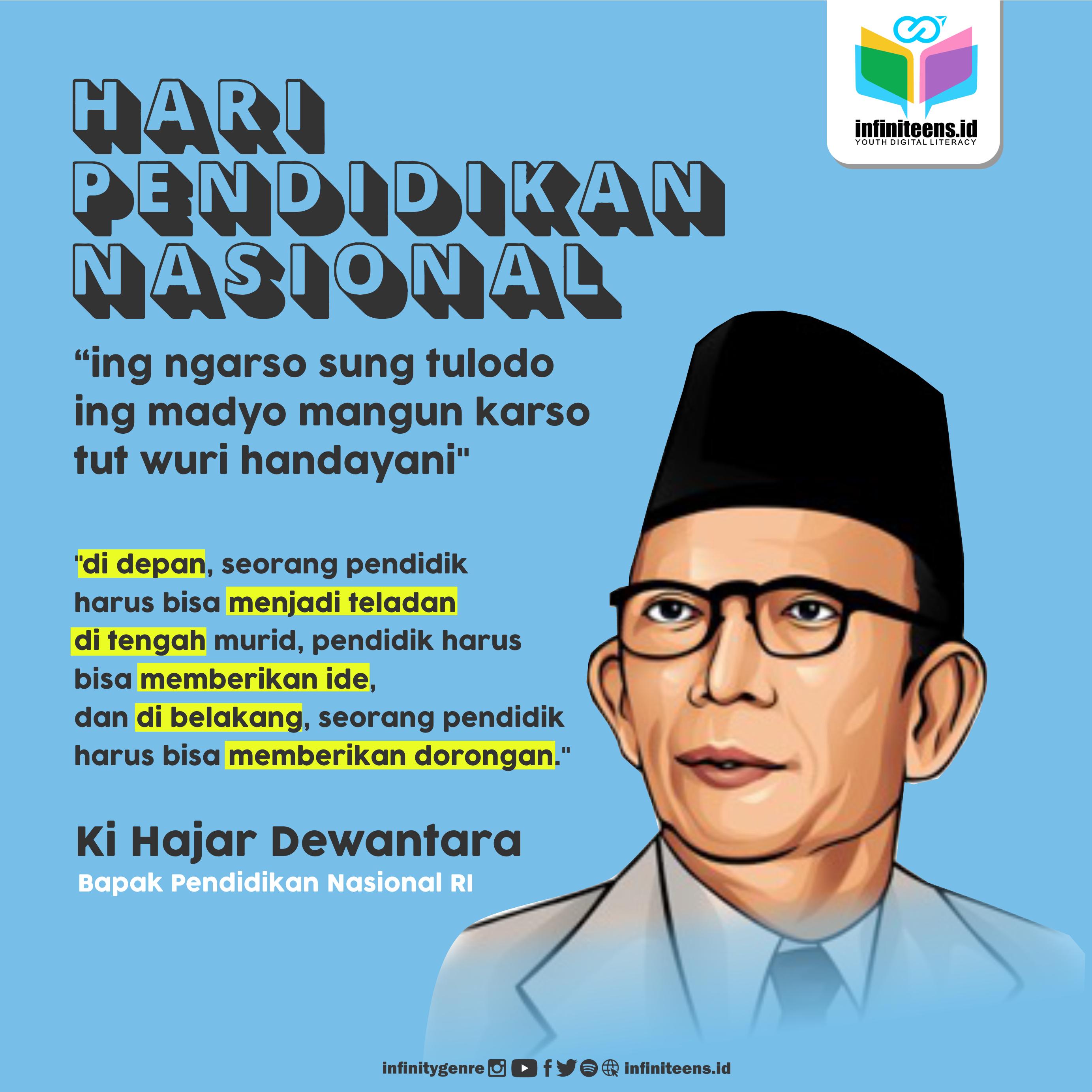 "Ki Hajar Dewantara: ""ing ngarso sung tulodo ing madyo mangun karso tut wuri handayani"""